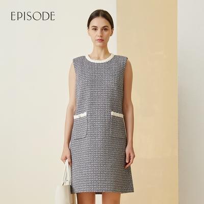 EPISODE - 斜紋軟呢氣質小香風無袖洋裝(藍)