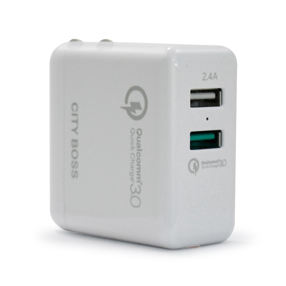 CITYBOSS高通授權認證QC3.0 2.4A 雙USB折疊旅充頭AC頭