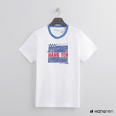 Hang Ten - 男裝 - 有機棉-領口滾邊造型logoT - 白
