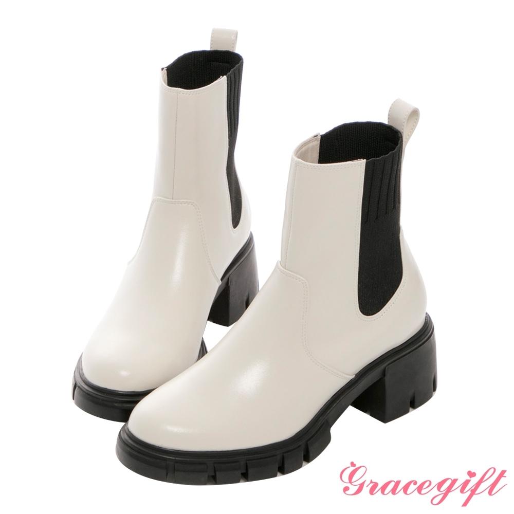 Grace gift X Kerina-聯名厚底切爾西中筒靴 米白