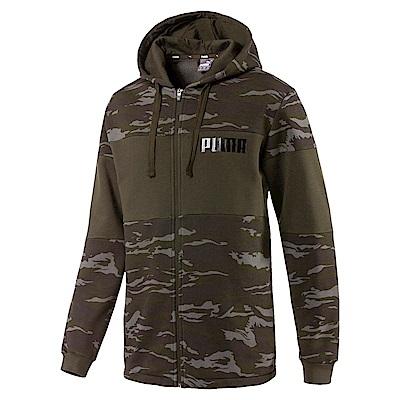 PUMA-男性基本系列迷彩刷毛連帽外套-深林綠-歐規