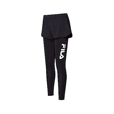FILA 女吸排抗UV時尚長褲-黑色 5PNT-1328-BK