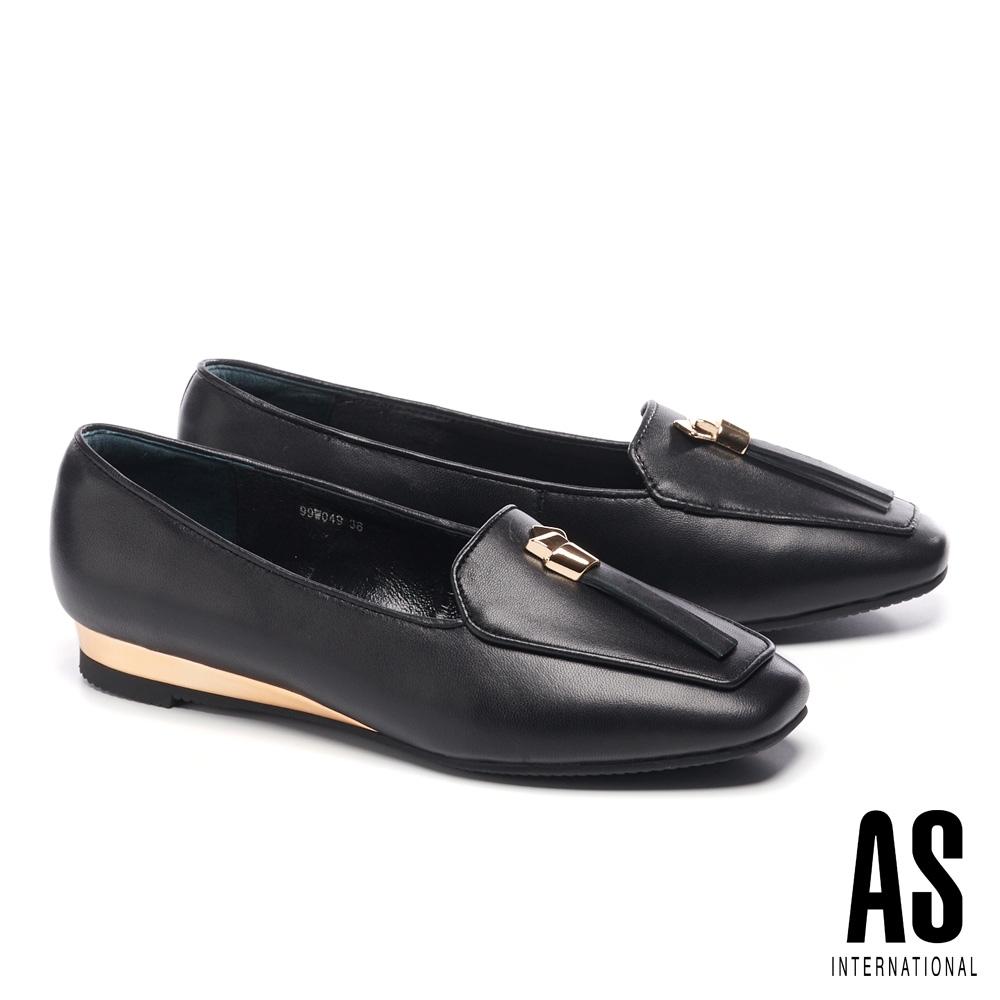 低跟鞋 AS 金屬風時尚率性全真皮樂福低跟鞋-黑