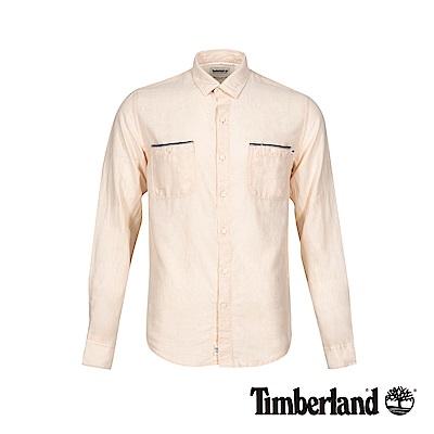 Timberland 男款淡紅色修身亞麻收納式長袖襯衫|A1WRC
