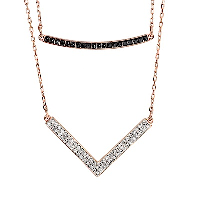 SWAROVSKI 施華洛世奇 HERO璀璨黑水晶鑽V造型玫瑰金色對組項鍊