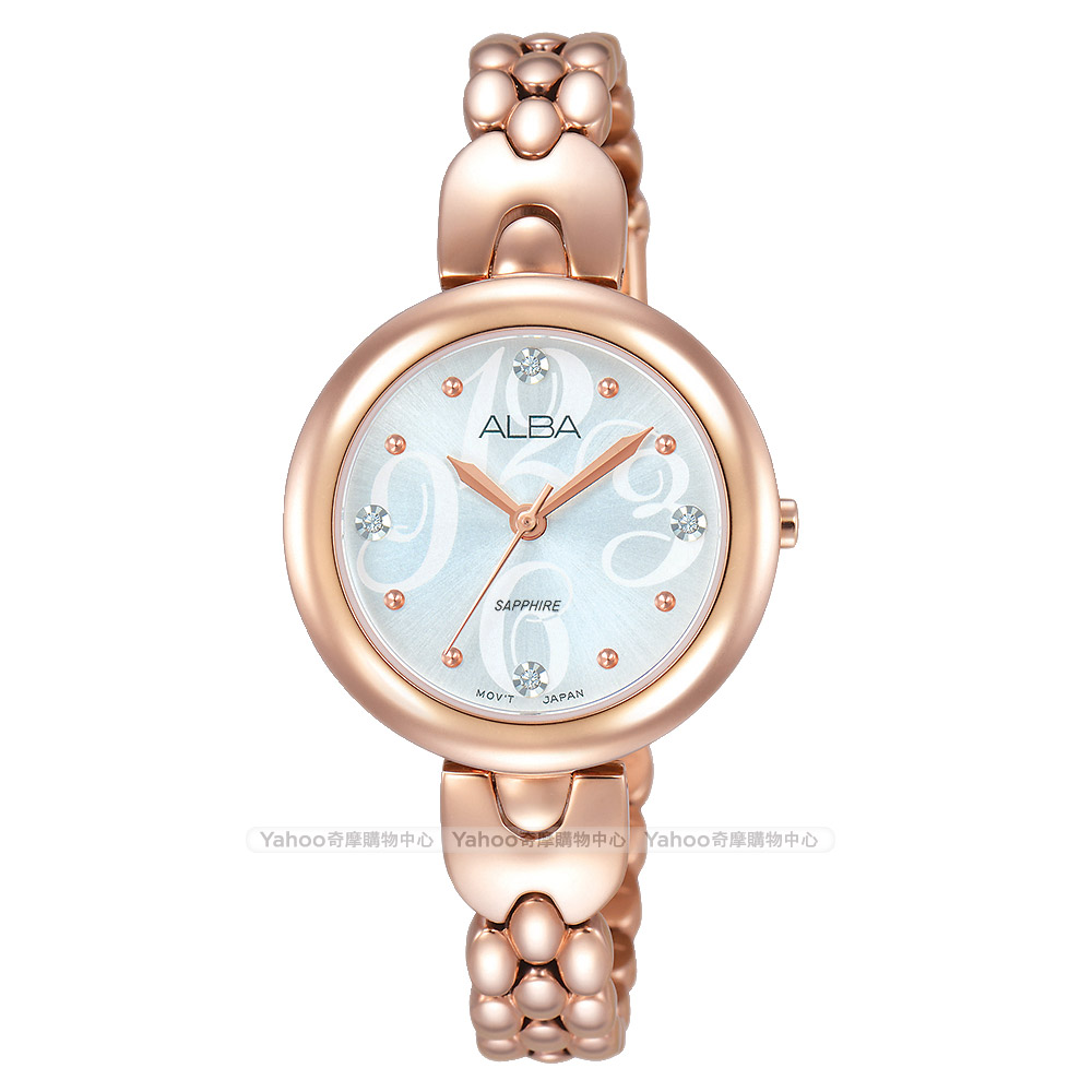 ALBA 雅柏 施華洛世奇晶鑽手鍊女錶(AH8344X1)-銀x玫瑰金/28mm