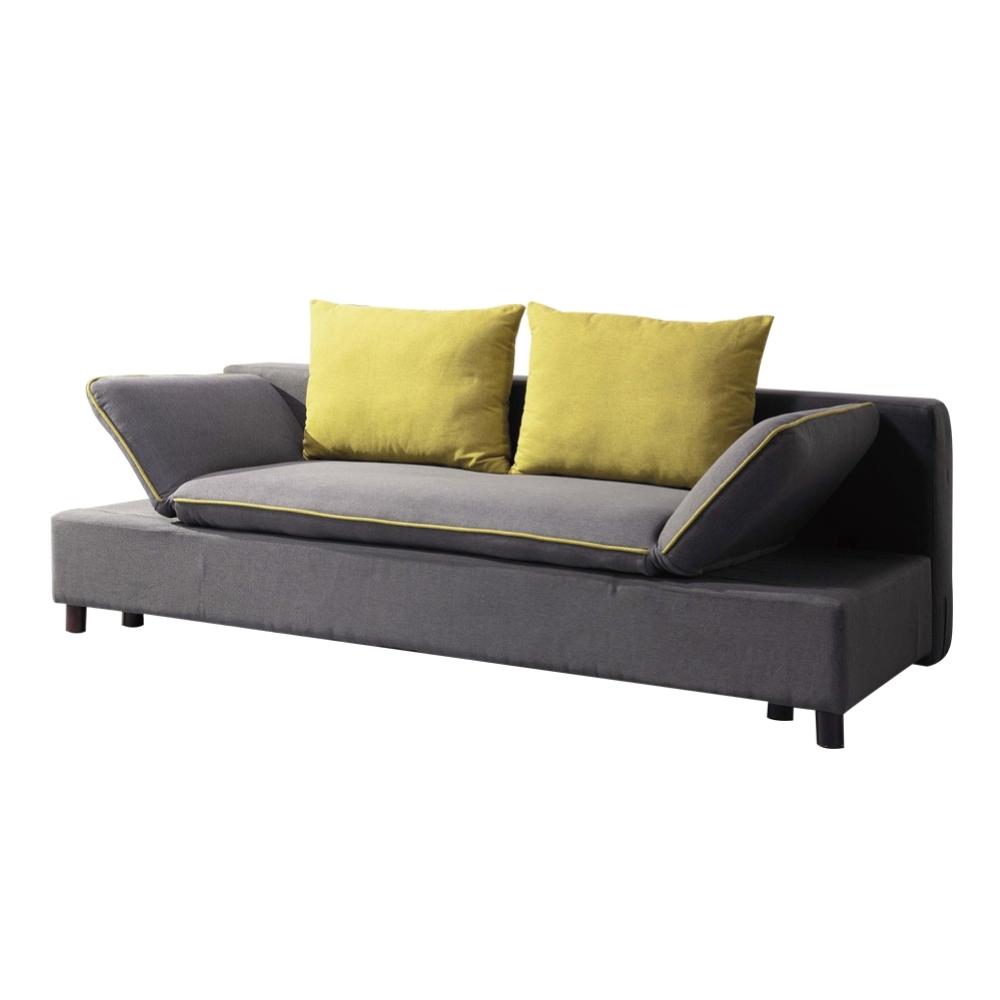 文創集 艾美亞麻布機能沙發/沙發床(展開式機能設計)-200x144x41cm免組