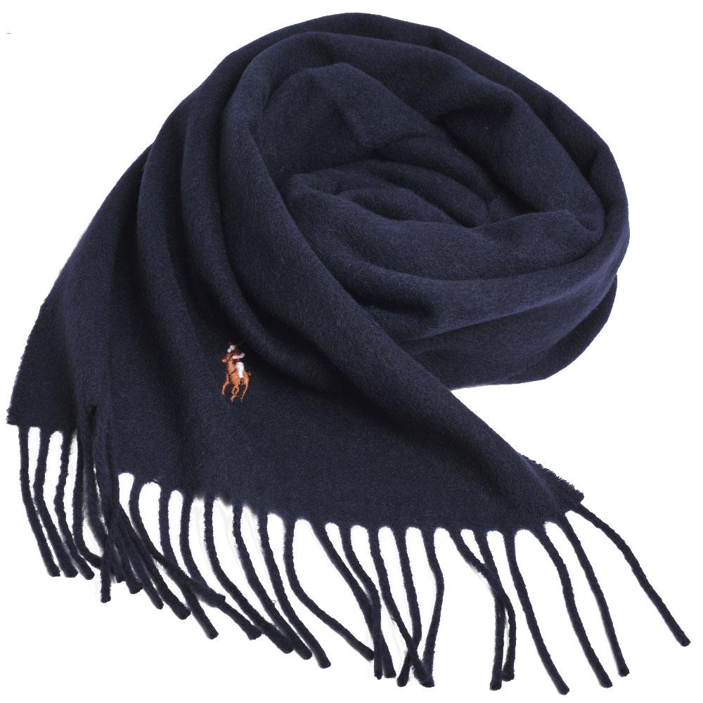 RALPH LAUREN POLO 義大利製彩色小馬刺繡LOGO素面羊毛圍巾(深藍系)GUCCI