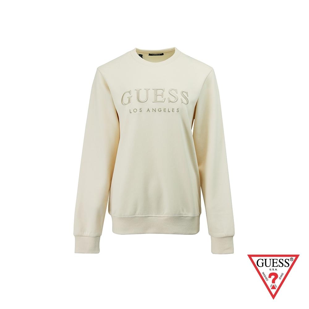 GUESS-男裝-純色刺繡文字LOGO大學T-米白 原價2990