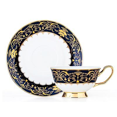 Royal Duke骨瓷咖啡杯碟組-金色風華(深藍)(二杯二碟)