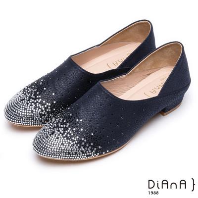 DIANA 媚惑奢華-閃耀動人漸層水鑽跟鞋-黑