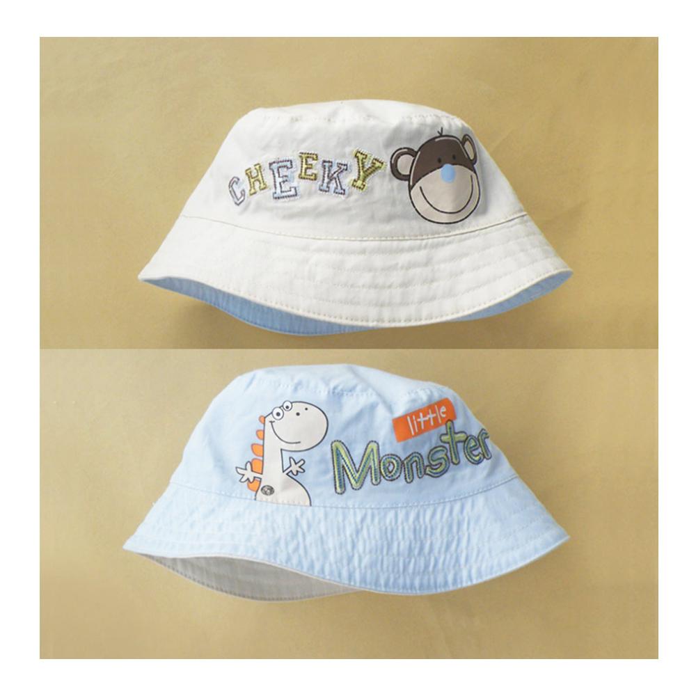 歐美原創設計-男童純棉Q版卡通雙面漁夫帽