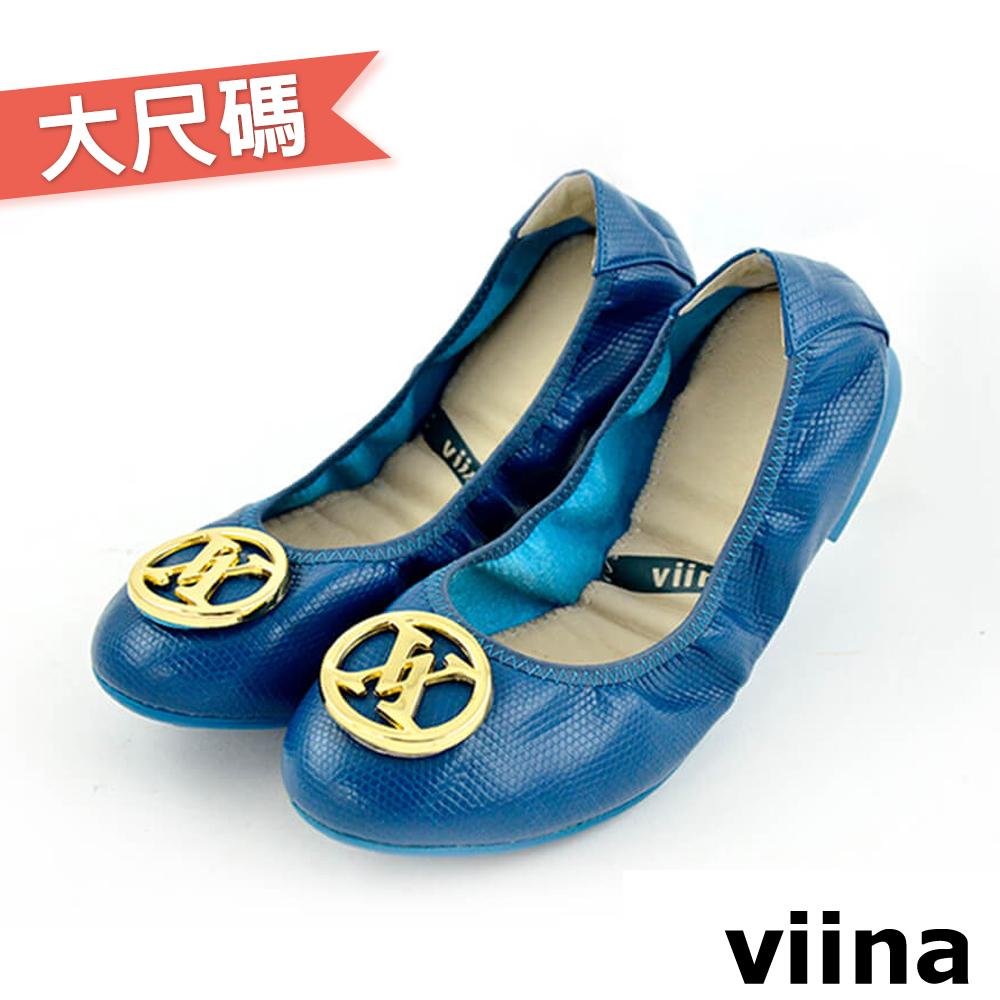 viina大尺碼經典款金扣蜥蜴紋摺疊鞋MIT-藏青色