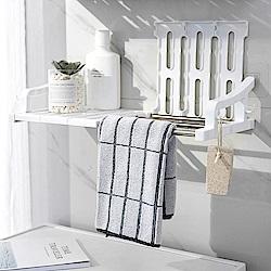 【Incare】廚衛無痕免釘壁掛置物架(小款43CM/附側邊掛勾*4)