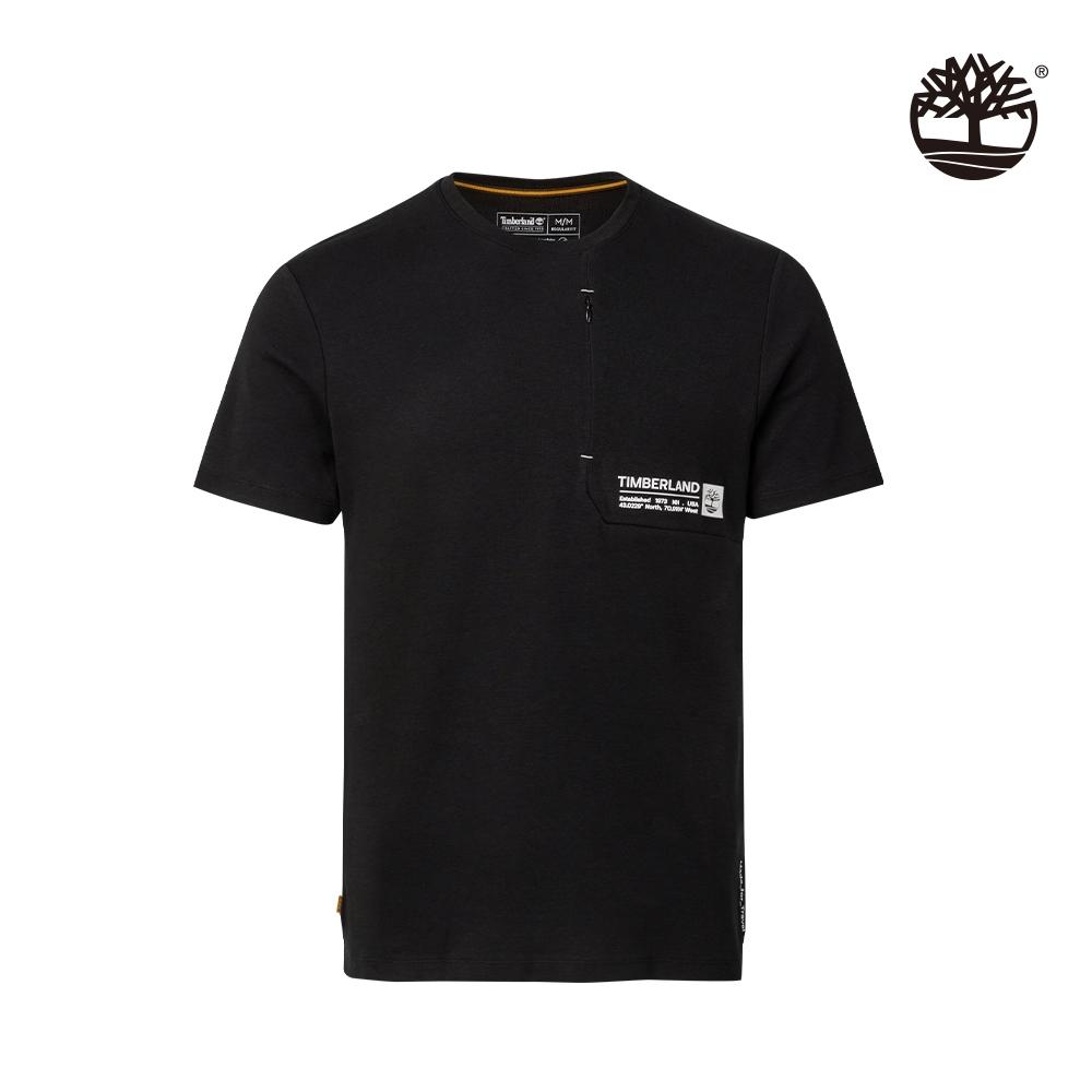 Timberland 男款黑色拉鍊口袋有機棉短袖T恤 A2DMU