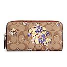 COACH 花卉圖案經典滿版LOGO PVC皮革拉鍊長夾-粉紫/卡其
