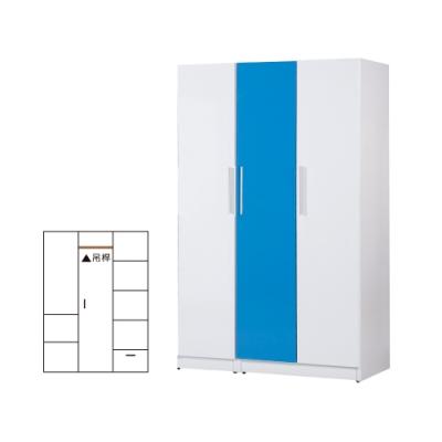 韓菲-藍色塑鋼三門衣櫃-122x52.5x192cm