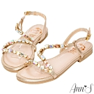Ann'S顯瘦Z字漸層寶石金色系平底涼鞋