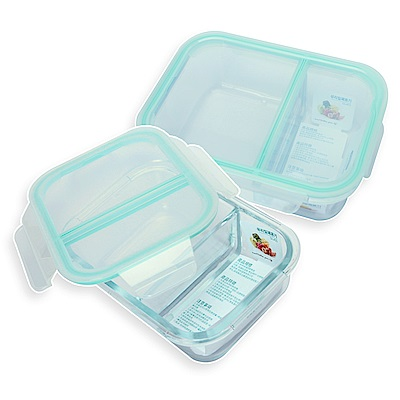 Incare 熱銷韓國強化玻璃分隔保鮮盒(1100ml2隔/2件組)
