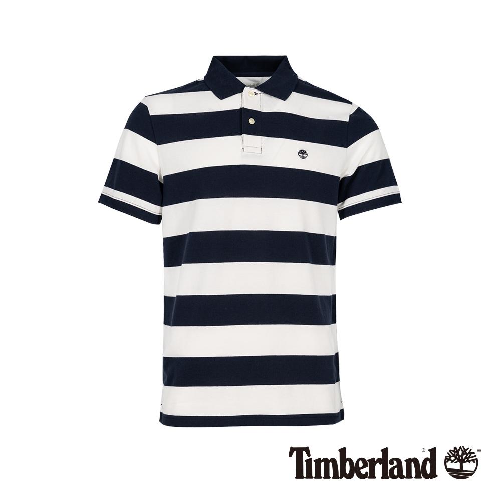 Timberland 男款深寶石藍色條紋短袖POLO衫|A1LT1