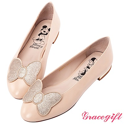 Disney collection by grace gift立體飾片平底娃娃鞋 杏