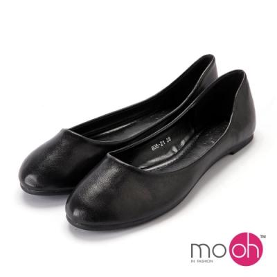 mo.oh-舒適柔軟圓頭平底娃娃鞋-黑色