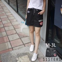 貼布條文拼接軟牛仔褲裙(M-3L) SISTERS