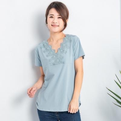 【白鵝buyer】優雅V領蕾絲造型上衣_藍
