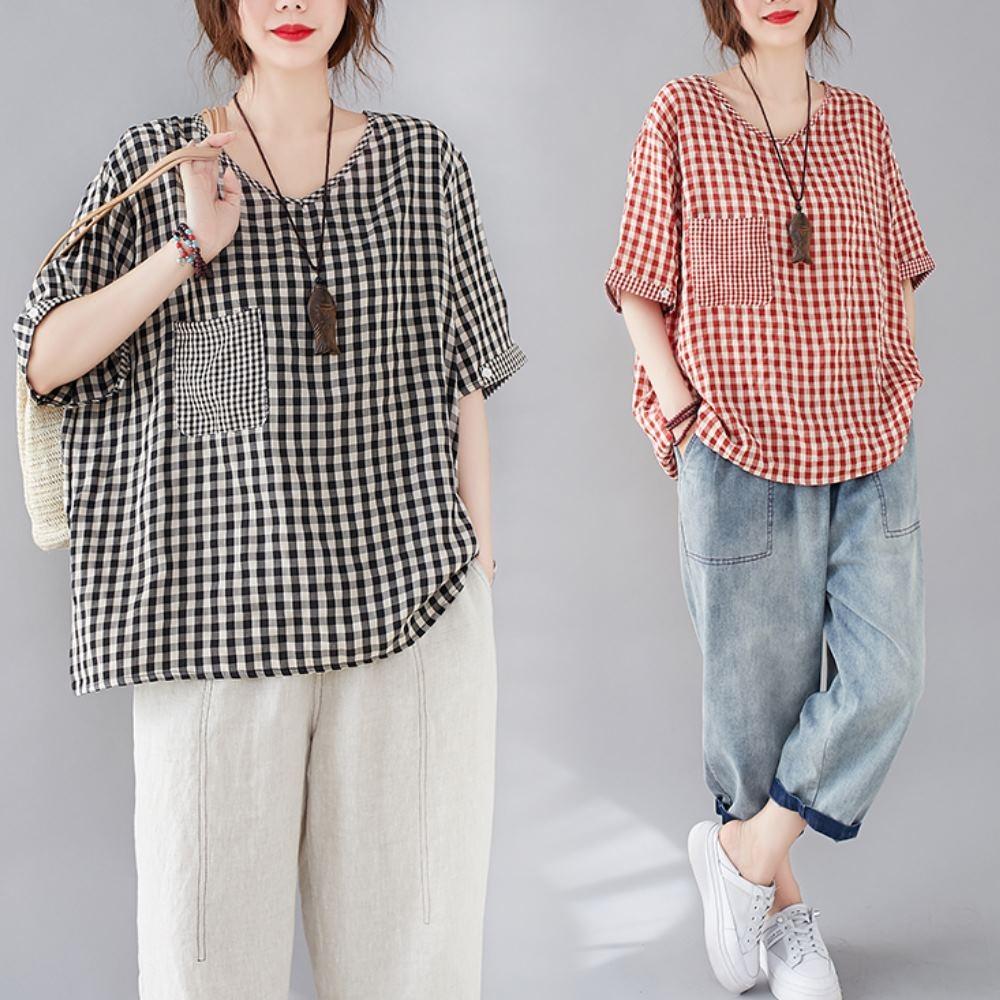 La Belleza圓領單口袋格子棉麻薄料舒適寬鬆上衣