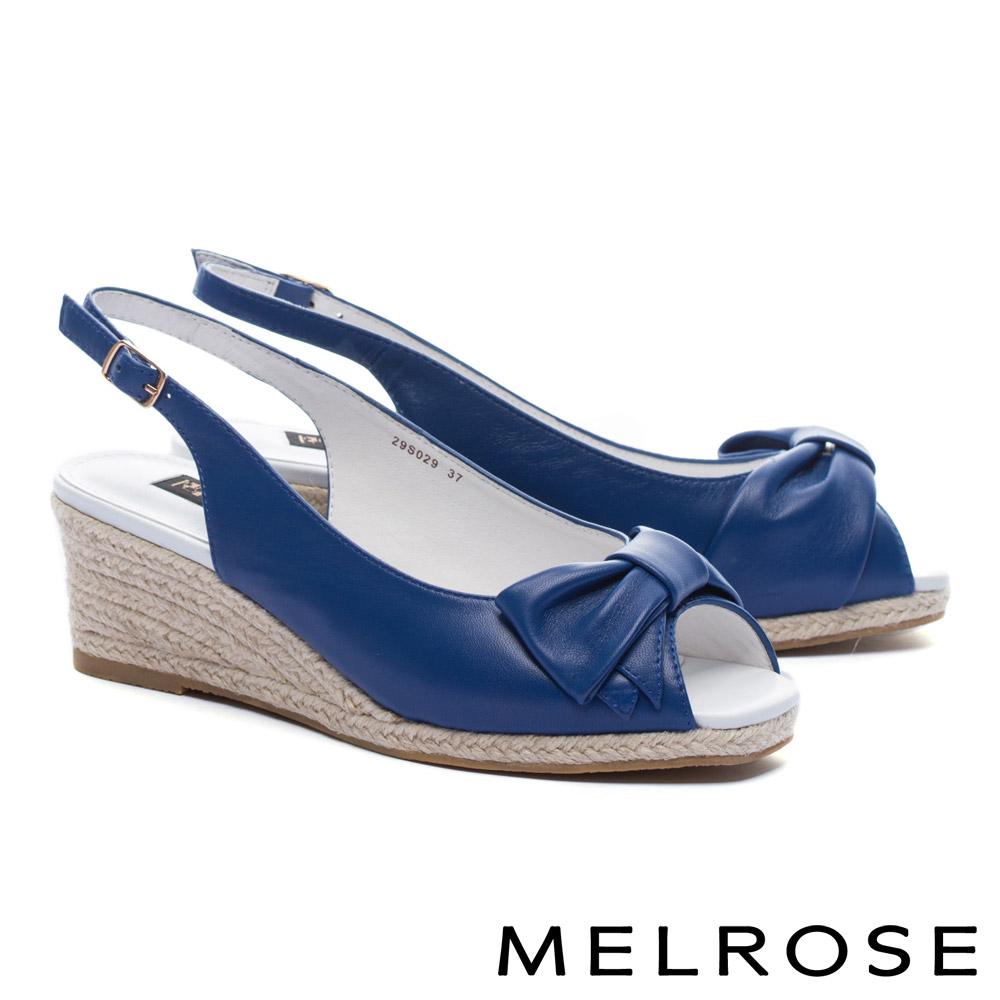 高跟鞋 MELROSE 輕甜蝴蝶結羊皮魚口後繫帶楔型高跟鞋-藍