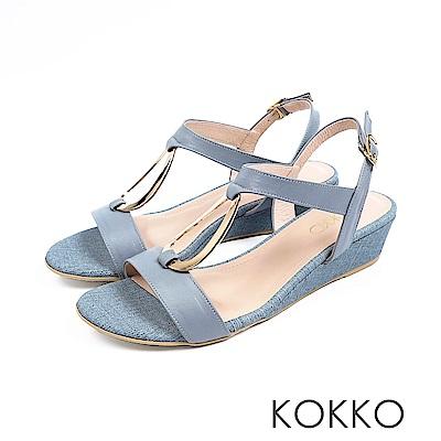 KOKKO - 時髦水滴金屬真皮後帶楔型跟鞋 - 霧灰藍