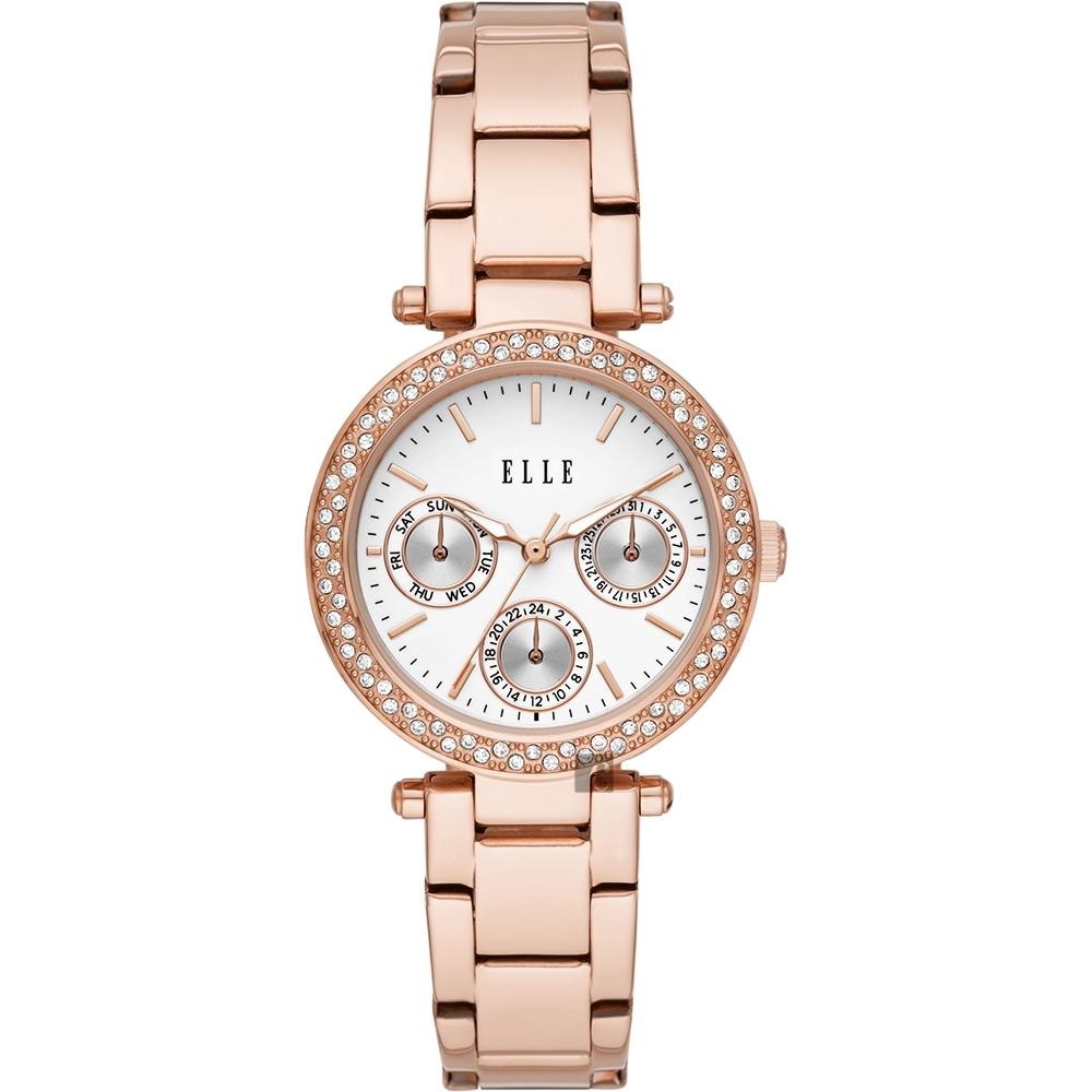 ELLE Marais 系列晶鑽日曆時尚女錶-33mm ELL23004