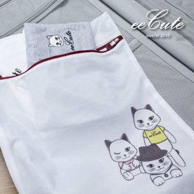【有感良品 x eeCute 聯名款】MIT萌貓細網洗衣收納兩用袋(40X50cm)