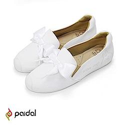 Paidal x 卡娜赫拉的小動物 P助&粉紅兔兔緞帶鞋-白