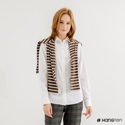 Hang-Ten-女裝-牛津紡長袖襯衫-白色