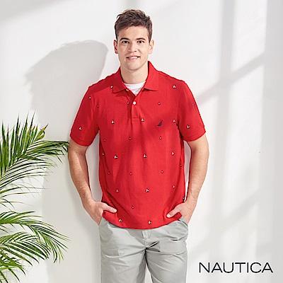 Nautica 造型圖騰吸濕快乾短袖POLO衫-紅色