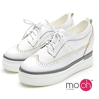 mo.oh-內增高綁帶厚底白色休閒鞋-白色