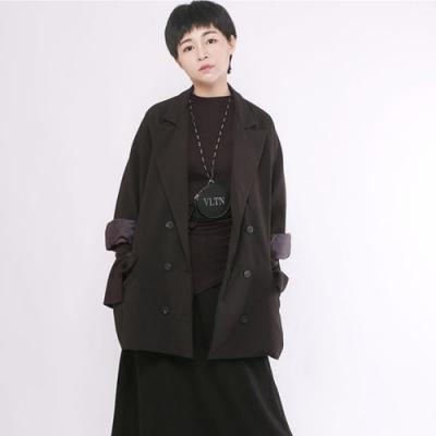 設計所在Style-寬鬆西服上衣韓版時尚休閒撞色七分袖顯瘦外套