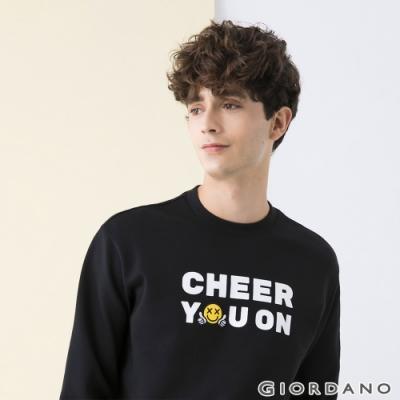 GIORDANO 男裝CHEER YOU ON大學T恤 - 11 標誌黑