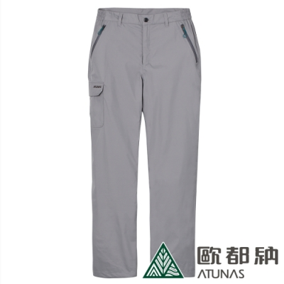 【ATUNAS 歐都納】男款戶外休閒防水透氣天鵝絨保暖長褲A-PA1822M中灰