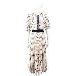 ELISABETTA FRANCHI 蕾絲細節杏白色圓點雪紡紗質洋裝