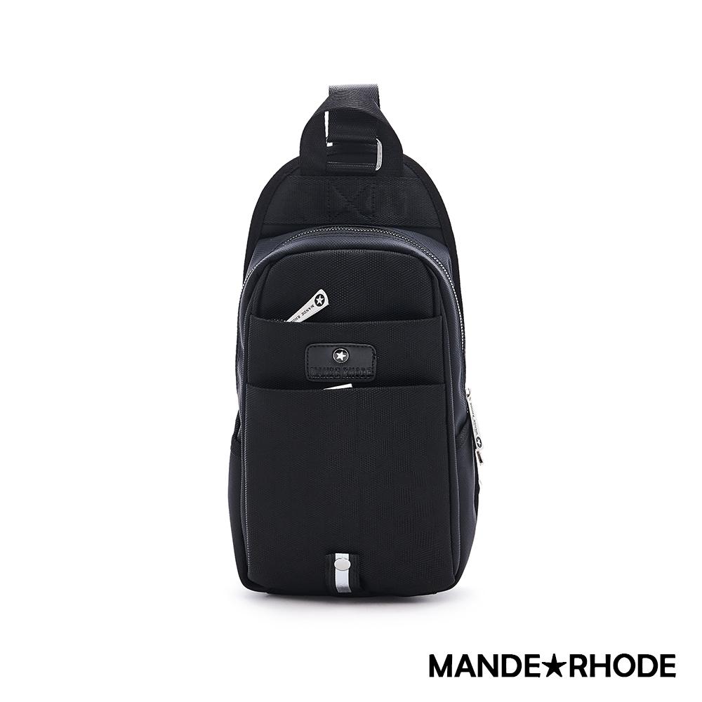 MANDE RHODE - 普徠德 - 美系潮男風格特搜單肩胸包 - 格紋黑【P3109-A】