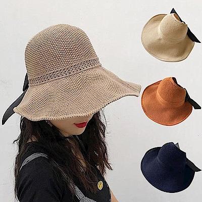 幸福揚邑 蝴蝶結空頂可捲收防曬抗UV大帽檐遮陽帽(卡其、米、焦糖、藍)