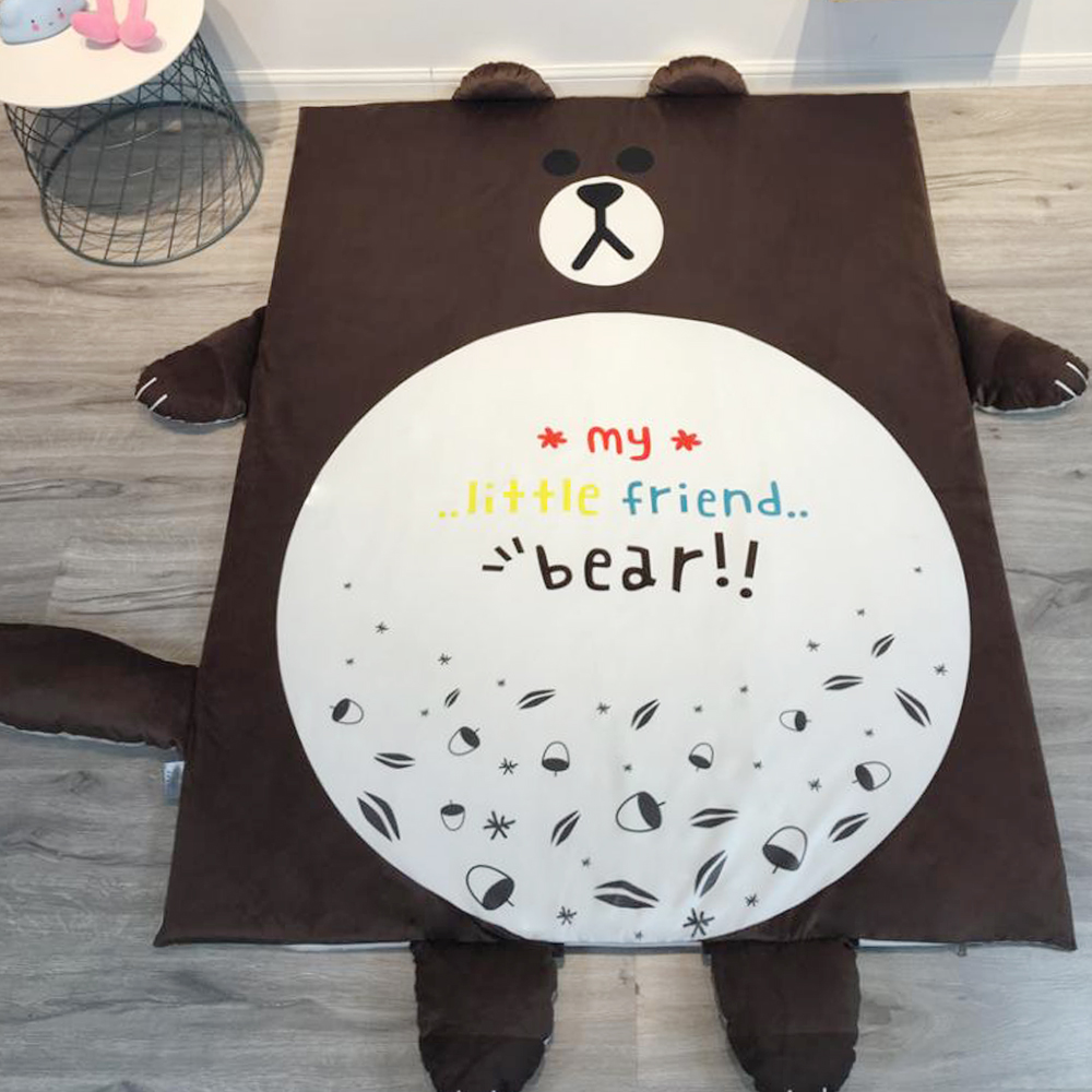 HUEI生活提案 水晶絨 可拆洗動物造型兒童床墊 布朗熊