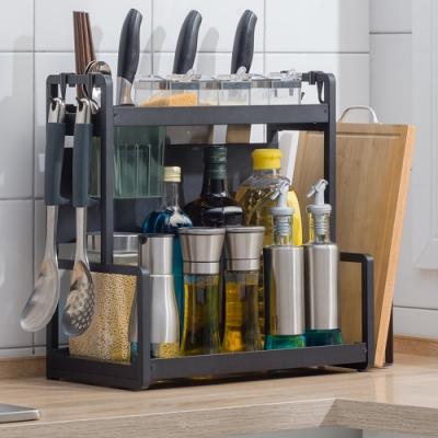 【HappyLife】40cm兩層廚房收納架+刀架+筷子筒+砧板架 40×22×41.5CM