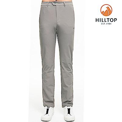 【hilltop山頂鳥】男款超潑水抗UV彈性長褲S07MC4法蘭絨灰