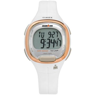 TIMEX 天美時 IRONMAN 鐵人系列 計時碼錶鬧鈴防水電子橡膠手錶-白色/34mm