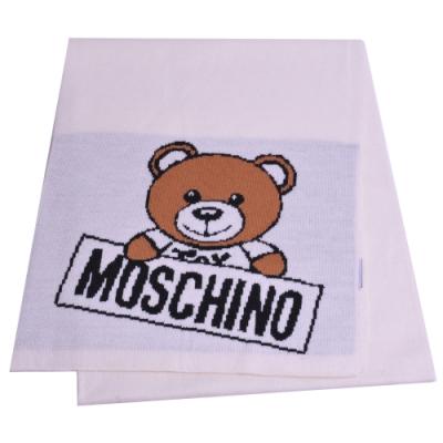 MOSCHINO 義大利製小熊字母LOGO圖騰混羊毛圍巾(米白)