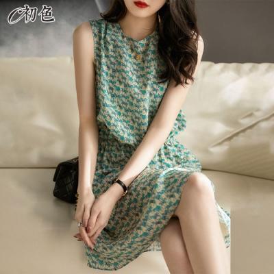 初色  復古印花背心洋裝-綠色-(M-2XL可選)