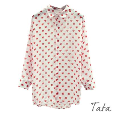 愛心前短後長雪紡罩衫 共二色 TATA